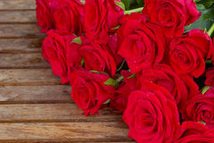 Bouquet of red roses with water drops Stock Photo