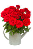 Bouquet of red  roses in watering can Royalty Free Stock Photos