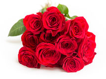 Bouquet of red roses on white background.  Royalty Free Stock Image