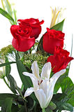 Bouquet red roses and white lily. Bouquet of red roses and white lily on white background Royalty Free Stock Photography
