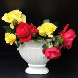 And a bouquet of red roses in a white vase on a black background Royalty Free Stock Photo