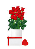 Bouquet  of red roses in white vase and card with heart closeup Stock Images