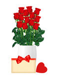 Bouquet  of red roses in white vase, card and red heart closeup Royalty Free Stock Photo
