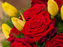 Bouquet of red roses and yellow tulips Royalty Free Stock Photography