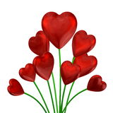 Bouquet of red shiny hearts Royalty Free Stock Images