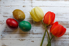 Bouquet of red spring tulip and handmade colorful painted easter eggs against rustic wooden background Stock Images