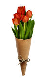 Bouquet of red tulip flowers in a craft paper cornet Royalty Free Stock Photography
