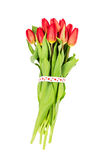 Bouquet of red tulips decorated with hearts ribbon isolated over white. Valentines Day concept Stock Photos