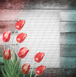 Bouquet of red tulips with green leaves on abstract wooden backg Stock Photography