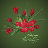 Bouquet of red tulips with lettering text Happy Birthday!. Royalty Free Stock Image