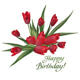 Bouquet of red tulips with lettering text Happy Birthday!. Royalty Free Stock Photography