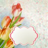 Bouquet of red tulips and a polka dot card. EPS 10 Royalty Free Stock Photo