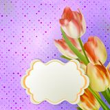 Bouquet of red tulips and a polka dot card. EPS 10 Stock Photography