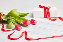 Bouquet of red tulips with white gift box decorated with red ribbon stock photography
