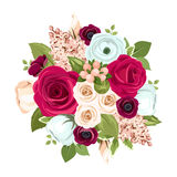 Bouquet with red, white and blue flowers. Vector illustration. Vector bouquet with red, white and blue roses, lisianthuses, ranunculus and lilac flowers and Stock Images