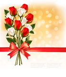 Bouquet of red and white roses with a red ribbon on gold booker Stock Photography