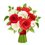 Bouquet of red and white roses. Vector illustration. Royalty Free Stock Image