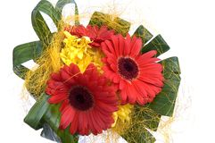 Bouquet with red and yellow flowers. Isolated on white background Royalty Free Stock Image