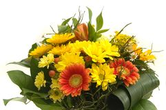 Bouquet with red and yellow flowers Stock Images
