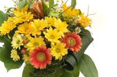 Bouquet with red and yellow flowers. Isdolated on white background Royalty Free Stock Photography