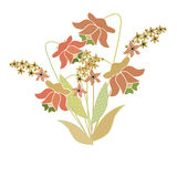 Bouquet of retro flowers illustration isolated Royalty Free Stock Image