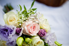 Bouquet with rings Royalty Free Stock Photography