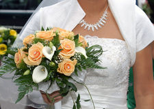 Bouquet rose. Bride Holding Bouquet from rose Stock Image