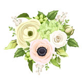 Bouquet with rose, anemone, ranunculus, lily of the valley and hydrangea flowers. Vector illustration. Vector bouquet with white rose, ranunculus, pink anemone Stock Photography