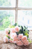 Bouquet rose artificial, Fake flower. Royalty Free Stock Photography