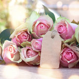 Bouquet of rose with a card for mothers day stock photo