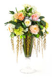 Bouquet of rose and chrysanthemum in glass vase Stock Images