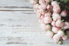 Bouquet rose de roses d'arbuste sur le fond en bois de vintage avec l'espace de copie pour le texte Image libre de droits