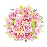 Bouquet rose de roses Illustration d'aquarelle Guirlande mignonne de style de vintage, frontière, cadre Photographie stock