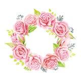 Bouquet rose de roses Illustration d'aquarelle Guirlande mignonne de style de vintage, frontière, cadre Photo libre de droits