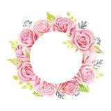 Bouquet rose de roses Illustration d'aquarelle Guirlande mignonne de style de vintage, frontière, cadre Images stock