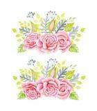 Bouquet rose de roses Illustration d'aquarelle Guirlande mignonne de style de vintage, frontière, cadre Photo stock