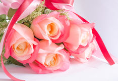 Bouquet of rose flowers. Beatiful bouquet of pink rose flowers on white background Royalty Free Stock Photo