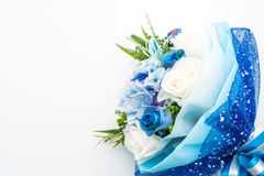 Bouquet of rose flowers. Beautiful bouquet of rose flowers on white background Royalty Free Stock Photo