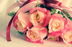 Bouquet of rose flowers. Bouquet of pink rose flowers with vintage filter effect Stock Photo