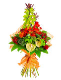 Bouquet of rose, gerbera, orchid and anthurium Stock Images