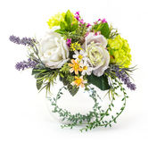 Bouquet of rose and hydrangea in glass vase. On white Stock Photos