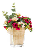 Bouquet of rose and jasmine in glass vase Stock Image