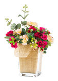 Bouquet of rose and jasmine in glass vase Stock Photography