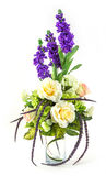 Bouquet of rose and lavender in glass vase. On white Royalty Free Stock Photos