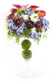 Bouquet of rose and lily in glass vase Royalty Free Stock Photo
