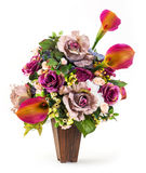 Bouquet of rose and lily in wood bucket Stock Images