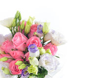 Bouquet of rose. And lisianthus flowers on white background Royalty Free Stock Images