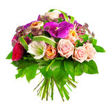 Bouquet of rose, paeonia and orchid. Isolated over a white background Royalty Free Stock Image