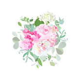 Bouquet of rose, peony, hydrangea, alstroemeria lily and eucalyp Stock Photography