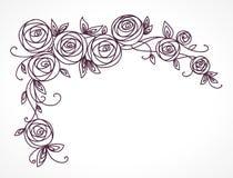 Bouquet rose stylisé de fleurs Branche des fleurs et des feuilles entrelaçant Composition décorative horizontale faisante le coin Image libre de droits